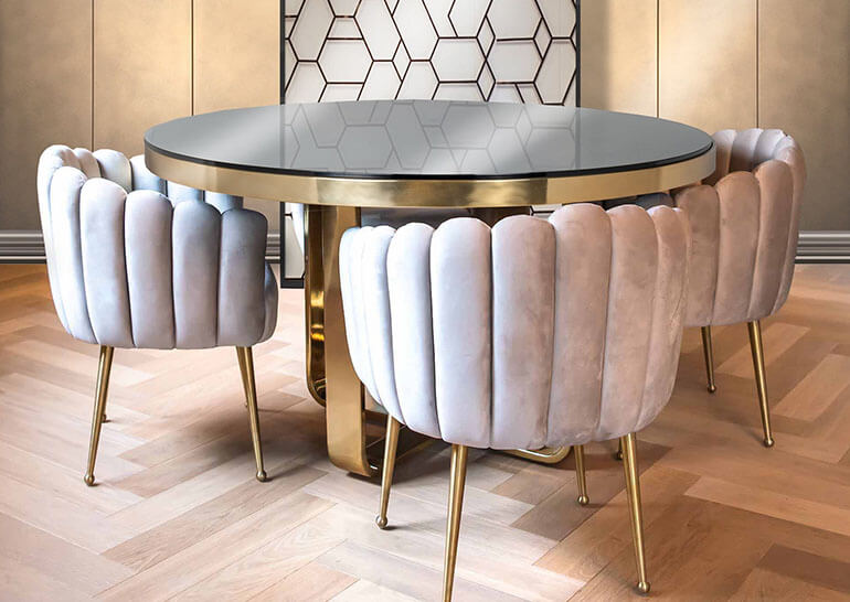 Contemporary Bucket Chairs and Glass Dining Table