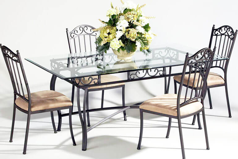 Metal Chairs with glass table