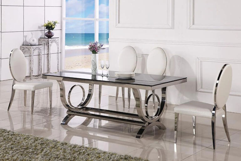 Stainless Steel Glass Top Dining Table and White Chrome Chairs