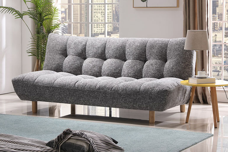 futon couch with side table