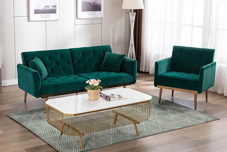 green futon sofa in living room