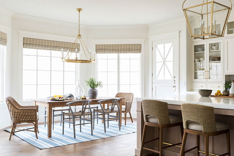 matching rattan stools and kitchen chairs