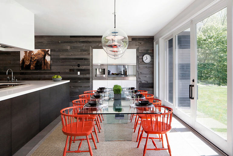 red chairs and glass table